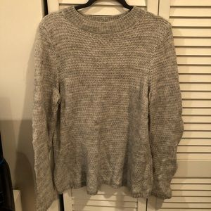 LOFT mock neck sweater light gray knit